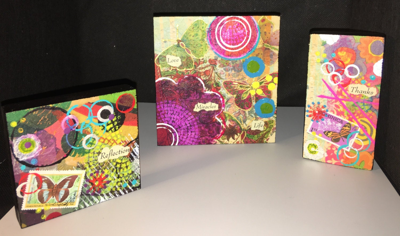 Custom 4x4 Mixed Media Paper And Acrylic On Wood Block