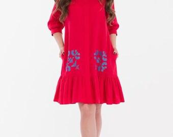 Linen shirt-dress -Linen dress-made in Ukranian