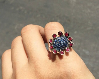 Eccentric Shape Blue Sapphire and Ruby Ring (Size 52)