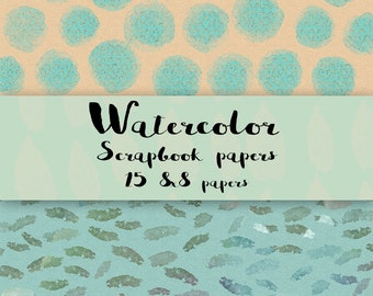 15 Watercolor scrapbook papers 8x8 Mixed colors instant download