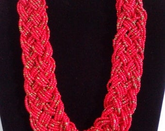 Bib necklace, statement necklace, red like the wine