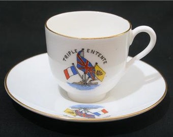 Antique Royal Worcester WWI era Miniature Cup & Saucer Triple Entente Crested