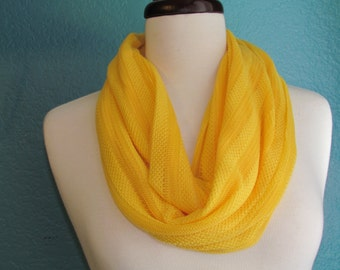 Yellow Knit Fabric Scarf, Loop Scarf, Circle Scarf, Soft Scarf, Infinity Scarf,