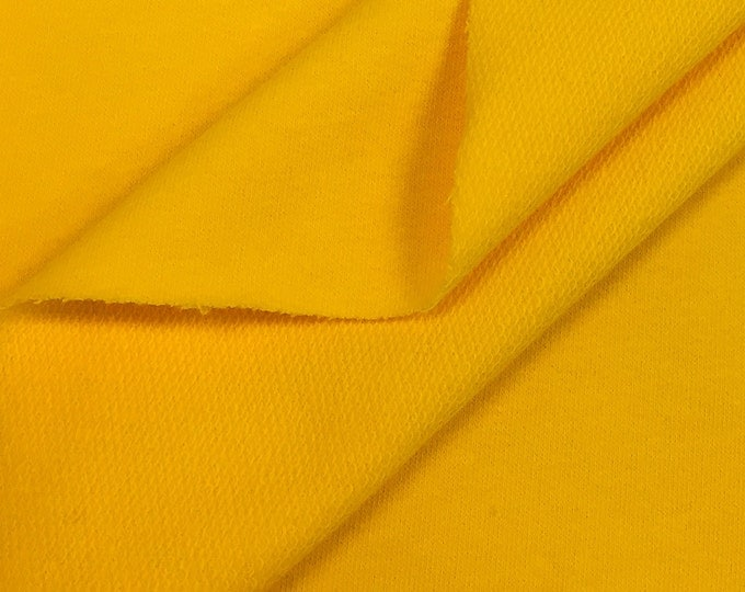 Cotton French Terry Fabric By the Yard (Wholesale Price By the Bolt) USA Made Premium Quality - 5474B Marigold- 1 Yard