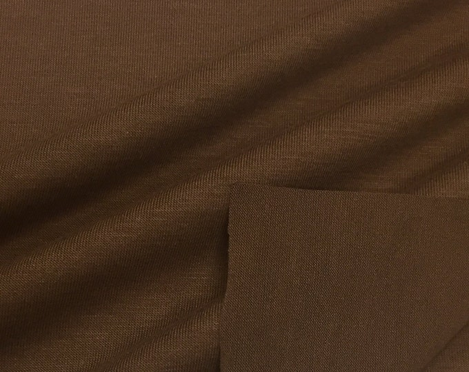 Jersey Knit Fabric With Spandex (Wholesale Price Available By The Bolt) USA Made Premium Quality - 3088PR3 Havana Brown - 1 Yard