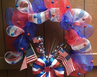 4th of July Wreath, Independence Day Wreath, America, Fireworks, Red, White & Blue Wreath