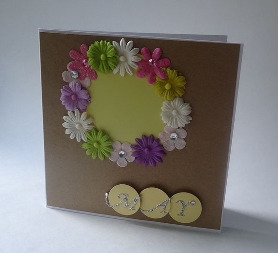 Greeting Cards - Handmade May Monthly Kraft Card with Flowers