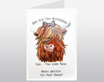 Scottish Birthday Card Coo WWBI41