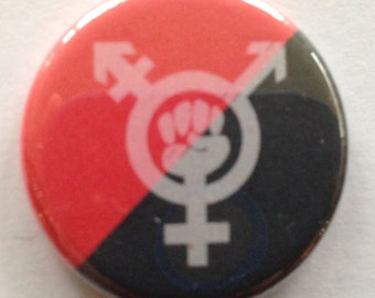 "Trans Inclusive Feminism Symbol Red and black Flag 1.25"" Transfeminism, Pinback and Magnet FREE SHIPPING domestic"