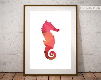 Nursery wall art, seahorse decor, kids poster, seahorse print, nursery decor sea, nursery prints, nursery decor nautical, instant download