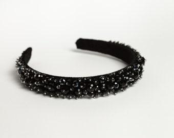 Beaded headband Black beaded headband Crystal beaded headband Black hair accessory Bridesmaid hair accessory