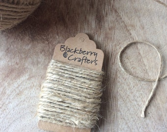 Jute string, sisal twine/rope/cord, brown for parcel wrapping and rustic decoration. 2mm 3ply - 10 metres