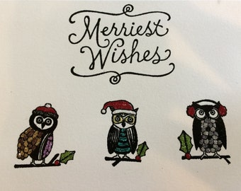 Sparkly Owl Christmas Card