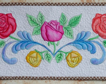 Painted Fabric wall hanging of roses, Roses for You, Fabric Art, Painted fabric, Wall hanging, Quilted Art,