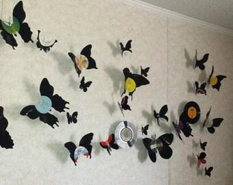 Vinyl Record Butterflies Set of 5