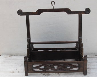 Antiques  Wood Rack with Carvings