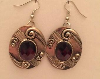 Silver Chunky Ornate Amethyst  Dangle Earrings