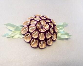 Kanzashi hair clips made handmade satin