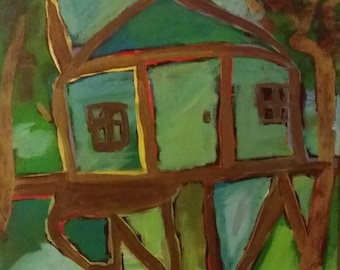 Expressionistic Treehouse Original Painting
