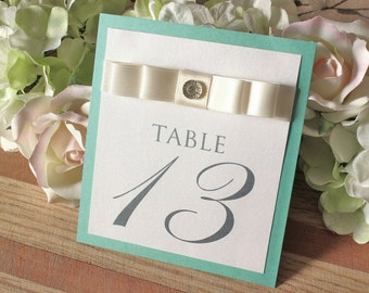 Tiffany Blue Table Numbers with Ribbon and Jewel, Table Number with Ivory Ribbon, Tiffany Blue Wedding Decor
