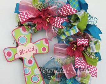 Blessed Wreath - Cross Wreath - Girl's Wreath - Pink Wreath - Grapevine Wreath - Home Decor - Door Decor - Door Wreath