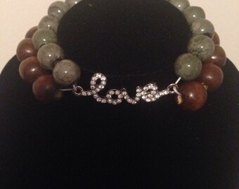 Two tone, two strand bracelet with pendant