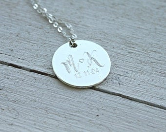 Monogram Engraved couple necklace- Personalized Necklace- Couple  Necklace- Anniversary Necklace Love Necklace- Engraved Customized Necklace