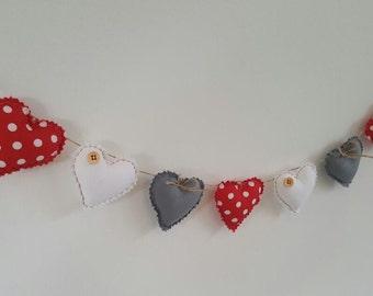 Hand Made Shabby Chic 7 Heart fabric Garland Bunting Grey White Red Spot