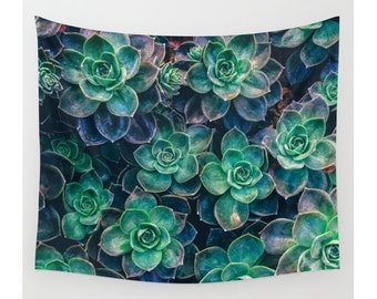 Wall Tapestry, Succulent Tapestry, Wall Hanging, Succulent Gardens Catcus,Nature Wall Decor, Photo Wall Art, Modern Tapestry, Bohemian Decor