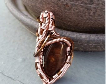 Fire Agate wire wrapped pendant