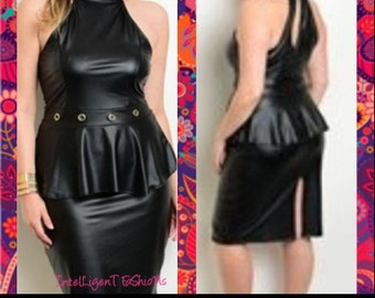 Plus Size Womens Black Leather Dress