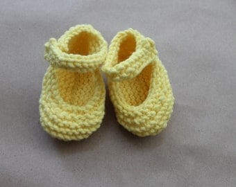 Hand Knit Yellow Mary Jane Baby Shoes for 6-12 months