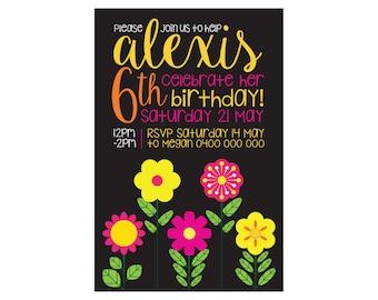 Kids Birthday FLOWER GARDEN Invitation PRINTABLE