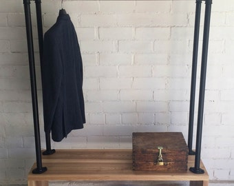 "Handmade wooden hanger rack - ""Wood & Pipe"". Stylish and natural. Wooden hanger, wardrobe. Unique and handmade. Made in EU. BRAM WOOD"