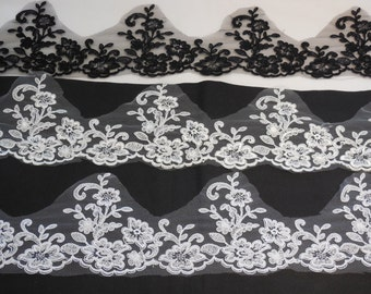 Black or ivory or white bridal wedding floral lace trim / dress lace trimming is for sale. Sold by Per Yard  90cm