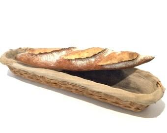 Wicker bakery basket . Vintage french baguette basket . Wicker and linen bread basket .