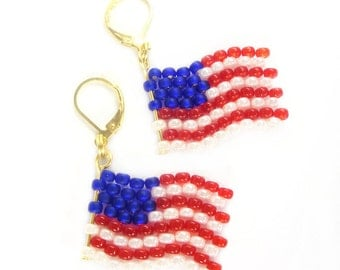 Fan articles (BS-1123) flag earrings - earrings - United States of America (G) - World Cup 2018