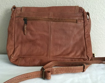 Tan leather crossbody shoulder bag by Emily Ann of Boca Raton