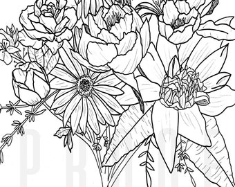 Hand Drawn | Floral Bouquet | Black and White | Instant Downloand | Digital Artwork