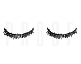 Watercolor | Eyelashes | Black and White | Instant Download | Digital Artwork