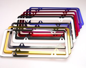 4 Hole Slim Color Powder Coated Stainless Steel License Plate Frame Car Vehicle Fits All Car & Model No Rusty Hand Coated
