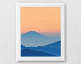 Mountain Printable, Blue Mountain Print, Colorful Print, Sunset Poster Art, Landscape Prints, Mountain Range Art, Abstract Painting, Decor