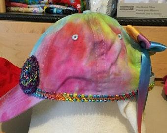 Handmade tie dye baseball cap