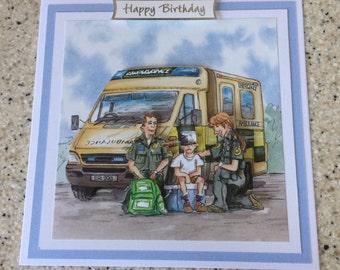 "Handmade Birthday 3D decoupage card ambulance paramedic humourous 6"" x 6"" unique,original, comical,funny"