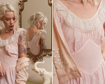 Vintage Lace Dress - Pink Cheesecloth Fabric