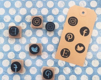 Set Social Networking Icons Stamps