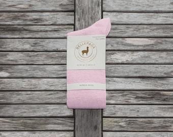 Socks pink mid-calf Alpaca for woman