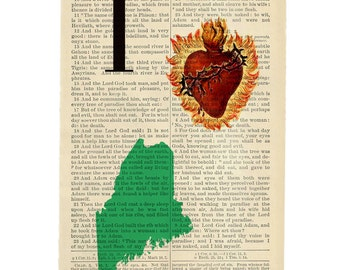 I Heart Maine - Artiasn Inkjet print upcycled from a Bible