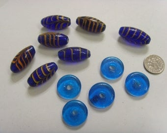 1960s 12 vintage hand blown blue glass beads lot e1179