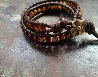 Leather Beaded wrap around bracelet